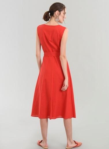 People By Fabrika Düğme Detaylı Elbise Kırmızı